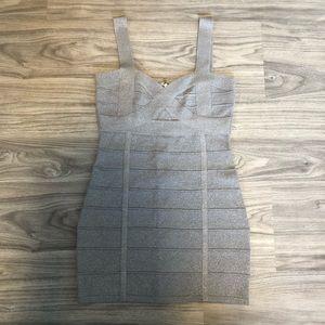 Forever 21 Bodycon Metallic Silver Bandage Dress